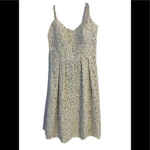 DESSY COLLECTION NWT Sz 8 ivory lace/ nude dress